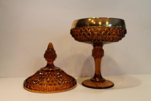 Amber Diamond Point Covered Compote